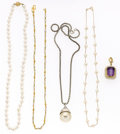 Estate Jewelry:Necklaces, Amethyst, Cultured Pearl, Gold, Sterling Silver Pendant-Necklaces.... (Total: 5 Items)