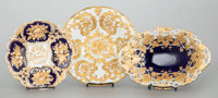 THREE MEISSEN PORCELAIN GILT AND COBALT BOWLS 20th century Marks: (crossed swords in underglaze blue), various
