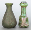Art Glass, TWO AUSTRIAN IRIDESCENT GLASS VASES. 20th century. 7 inches high(17.8 cm) (taller). ... (Total: 2 Items)