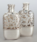 Silver Holloware, American:Flasks, A PAIR OF SHREVE, CRUMP & LOW CO. GLASS AND SILVER FLASKS.Early 20th century. Marks: SHREVE, CRUMP & LOW CO.,STERLING, 0... (Total: 2 Items)