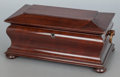 Decorative Arts, British:Other , AN ENGLISH REGENCY MAHOGANY SARCOPHAGUS-FORM TEA CADDY. Circa 1815.8 x 18 x 10 inches (20.3 x 45.7 x 25.4 cm). ...