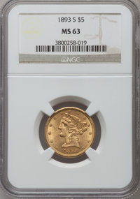 1893-S $5 MS63 NGC. NGC Census: (131/29). PCGS Population (101/27). Mintage: 224,000. Numismedia Wsl. Price for problem...