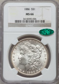 Morgan Dollars: , 1886 $1 MS66 NGC. CAC. NGC Census: (4921/898). PCGS Population(2529/307). Mintage: 19,963,886. Numismedia Wsl. Price for p...