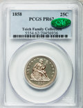 Proof Seated Quarters, 1858 25C PR62 PCGS. CAC....