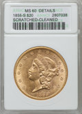 Liberty Double Eagles: , 1855-S $20 -- Cleaned, Scratched -- ANACS. MS60 Details. NGCCensus: (7/19). PCGS Population (3/18). Mintage: 879,675. Numi...