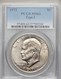 Eisenhower Dollars, 1972 $1 Type Two MS63 PCGS. PCGS Population (540/528). Numismedia Wsl. Price for problem free NGC/PCGS ...