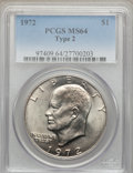 Eisenhower Dollars, 1972 $1 Type Two MS64 PCGS. PCGS Population (466/62). Numismedia Wsl. Price for problem free NGC/PCGS c...