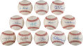 Autographs:Baseballs, Baseball Greats Single Signed Baseballs Lot Of 12. ...