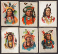 Non-Sport Cards:Sets, Circa 1910 S66 Indian Chiefs Silks Premiums Complete Set (6). ...