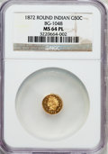 California Fractional Gold: , 1872 50C Indian Round 50 Cents, BG-1048, Low R.4, MS64 ProoflikeNGC. NGC Census: (4/6). ...
