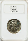 Proof Walking Liberty Half Dollars: , 1939 50C PR64 NGC. NGC Census: (285/1477). PCGS Population(578/1847). Mintage: 8,808. Numismedia Wsl. Price for problem fr...