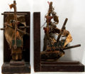 """Books:Furniture & Accessories, Set of Two Book Ends Depicting Sailing Ships. Wood, cloth andstring construction. 6"""" x 3.5"""" x 7.25"""". Light layer of dust. S...(Total: 2 Items)"""