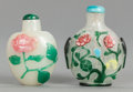 Asian:Chinese, TWO CHINESE GLASS FLORAL SNUFF BOTTLES . 20th century. 2-3/4 incheshigh (7.0 cm) (taller). ... (Total: 2 Items)