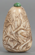 Asian:Chinese, A CHINESE HARDSTONE CARVED SNUFF BOTTLE. 20th century. 3-1/2 incheshigh (8.9 cm). ...