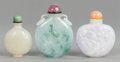Asian:Chinese, THREE CHINESE HARDSTONE SNUFF BOTTLES. 20th century. 2-5/8 incheshigh (6.7 cm) (largest). ... (Total: 3 Items)