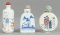 Asian:Chinese, THREE CHINESE PORCELAIN SNUFF BOTTLES. 20th century. Marks to two:(chop marks). 2-7/8 inches high (7.3 cm) (tallest). ... (Total: 3Items)