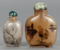 Asian:Chinese, TWO CHINESE AGATE SNUFF BOTTLES. 20th century. 3-1/2 inches high(8.9 cm) (taller). ... (Total: 2 Items)