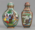 Asian:Chinese, TWO CHINESE CLOISONNÉ SNUFF BOTTLES. 20th century. 2-3/4 incheshigh x 1-3/4 inches wide (7.0 x 4.4 cm) (ovoid example). ...(Total: 2 Items)