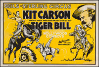 "Kit Carson in the Seils-Sterling Circus (Central Show Printing Co., 1930s). Circus Poster (28"" X 41""). Miscell..."