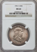 Franklin Half Dollars: , 1951-S 50C MS64 NGC. NGC Census: (709/1150). PCGS Population(1586/1570). Mintage: 13,696,000. Numismedia Wsl. Price for pr...