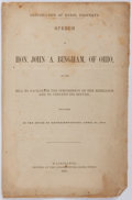 Books:Americana & American History, [Slavery]. John A. Bingham. Confiscation of Rebel Property.Speech of the Hon. John A. Bingham, of Ohio, on the Bill to ...