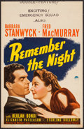 """Movie Posters:Comedy, Remember the Night (Paramount, 1940). Trimmed Midget Window Card(8"""" X 12.5""""). Comedy.. ..."""