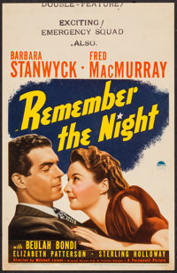 """Remember the Night (Paramount, 1940). Trimmed Midget Window Card (8"""" X 12.5""""). Comedy"""