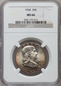 Franklin Half Dollars: , 1958 50C MS66 NGC. NGC Census: (950/29). PCGS Population (1535/35).Mintage: 4,000,000. Numismedia Wsl. Price for problem f...