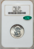 Washington Quarters: , 1943 25C MS67 NGC. CAC. NGC Census: (249/0). PCGS Population(92/2). Mintage: 99,700,000. Numismedia Wsl. Price for problem...