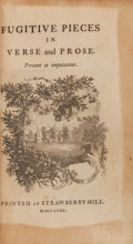Books:Literature Pre-1900, Horace Walpole. Fugitive Pieces in Verse and Prose.[London]: Strawberry Hill, 1758. First edition, first state of t...