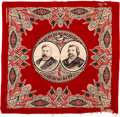Political:Textile Display (pre-1896), Blaine & Logan: Turkey Red Jugate Bandanna. ...