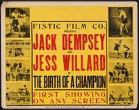 "Jack Dempsey and Jess Willard in The Birth of a Champion (Fistic Film, 1939) Half Sheet (22"" X 28""). Sports..."