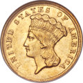 Three Dollar Gold Pieces, 1854-D $3 AU58 NGC. Variety 1-A....