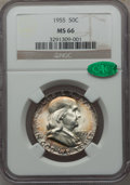 Franklin Half Dollars: , 1955 50C MS66 NGC. CAC. NGC Census: (126/2). PCGS Population(74/0). Mintage: 2,400,000. Numismedia Wsl. Price for problem ...