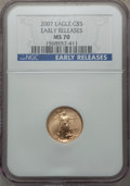 Modern Bullion Coins, 2007 $5 Tenth-Ounce Gold Eagle, Early Releases, MS70 NGC. NGC Census: (0). PCGS Population: (89). MS70....
