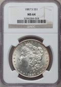 Morgan Dollars: , 1887-S $1 MS64 NGC. NGC Census: (917/165). PCGS Population(1753/353). Mintage: 1,771,000. Numismedia Wsl. Price for proble...
