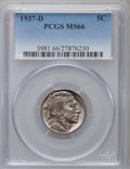 Buffalo Nickels: , 1937-D 5C MS66 PCGS. PCGS Population (1682/88). NGC Census:(1875/89). Mintage: 17,826,000. Numismedia Wsl. Price for probl...