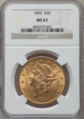 Liberty Double Eagles: , 1895 $20 MS63 NGC. NGC Census: (3363/515). PCGS Population(1730/252). Mintage: 1,114,656. Numismedia Wsl. Price for proble...