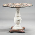 Decorative Arts, Continental, AN ITALIAN CENTER TABLE WITH PIETRA DURA MARBLE OCTAGONAL TOP. 20thcentury. 31 x 34-1/2 x 34-1/2 inches (78.7 x 87.6 x 87.6...