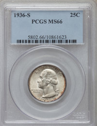 1936-S 25C MS66 PCGS. PCGS Population (244/30). NGC Census: (144/9). Mintage: 3,828,000. Numismedia Wsl. Price for probl...