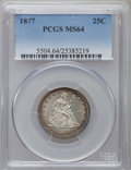 Seated Quarters: , 1877 25C MS64 PCGS. PCGS Population (67/149). NGC Census: (79/129).Mintage: 10,911,710. Numismedia Wsl. Price for problem ...