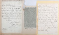 Autographs:Authors, Catherine Sinclair. Group of Two Autograph Letters Signed. Undated.Accompanied by obituary clipping. Fixed to backing. Tone...