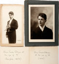 Photography:Studio Portraits, Group of Two Photographs of Edwin Franko Goldman. Undated.Accompanying cards state the photographs were taken at the ageso...