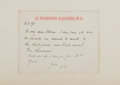 "Autographs:Authors, Clement Scott. Autograph Letter Signed. 4.5"" x 3.5"". June 11,(18)95. Signed ""C.S."" Fixed to backing. Toned. Good...."