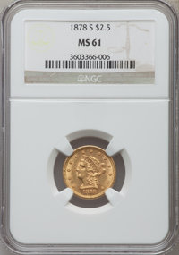 1878-S $2 1/2 MS61 NGC. NGC Census: (145/184). PCGS Population (38/118). Mintage: 178,000. Numismedia Wsl. Price for pro...