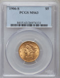 Liberty Half Eagles: , 1906-S $5 MS63 PCGS. PCGS Population (89/51). NGC Census: (68/32).Mintage: 598,000. Numismedia Wsl. Price for problem free...