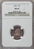 Bust Dimes: , 1833 10C MS65 NGC. NGC Census: (24/6). PCGS Population (13/4).Mintage: 485,000. Numismedia Wsl. Price for problem free NGC...