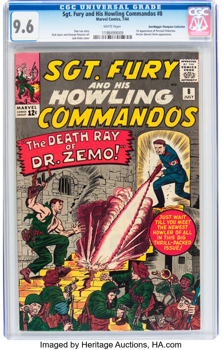 Sgt. Fury and His Howling Commandos #8 Don/Maggie Thompson Collection pedigree (Marvel, 1964) CGC NM+ 9.6 White pages....