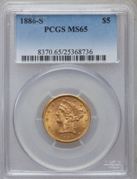 1886-S $5 MS65 PCGS. PCGS Population (14/0). NGC Census: (49/0). Mintage: 3,268,000. Numismedia Wsl. Price for problem f...