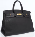 Luxury Accessories:Bags, Hermes 40cm Black Fjord Leather Birkin Bag with Gold Hardware. ...